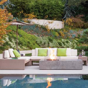 Hauser's Equinox firepit is made from an easy-to-maintain concrete composite