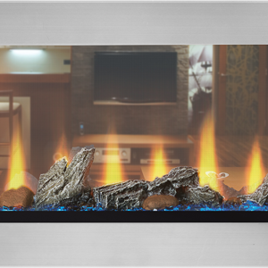 Napoleon's CLEARion™ See Thru electric fireplace offers installation flexibility, a variety of customization options, and luxurious comfort for two spaces at the same time.