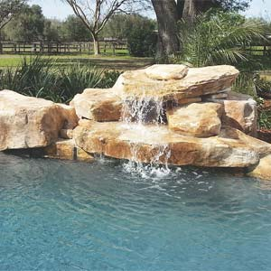 Rico Rock now offers a new water fountain composed of eight modular pieces to create an esthetically pleasing poolside rock waterfall.