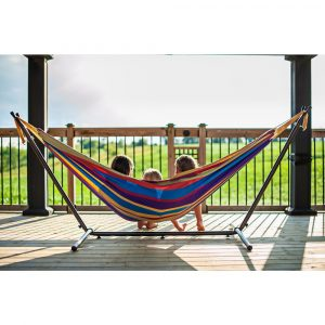 9 ft. Double Cotton Hammock with Stand in Tropical, $93, homedepot.com