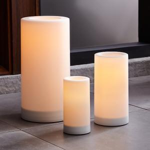 Indoor/Outdoor Pillar Candles with Timer, $15, crateandbarrel.com