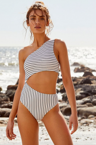 Assymetrical: Striped Celine One-Piece Swimsuit, $131, freepeople.com