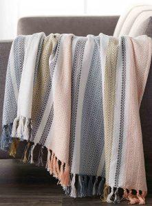 Diamond stripe pure cotton throw, $45, simons.ca