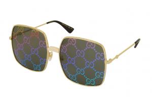 Logos: Gucci Rectangular-frame Metal Sunglasses w/ GG Pattern Lenses, $909, ca.forzieri.com