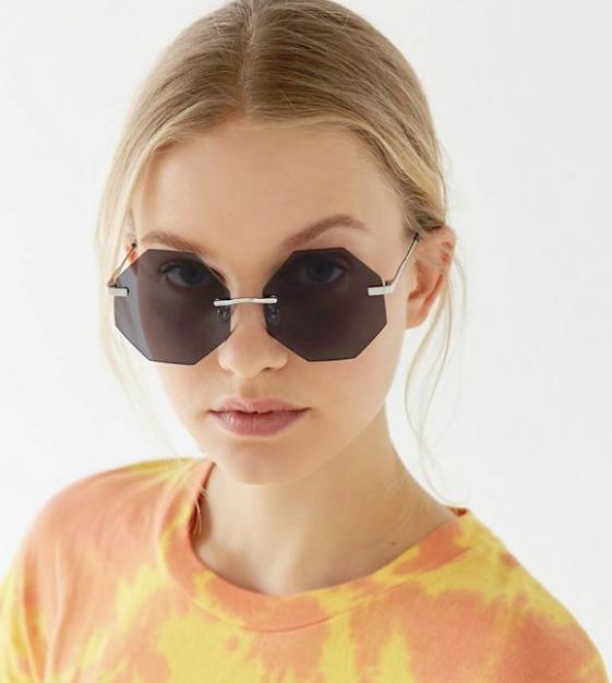 Geometric: Stevie Rimless Hexagon Sunglasses, $22, urbanoutfitters.com
