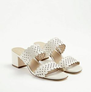 Slip-ons: Liv Perforated Leather Block Heel Sandals, $194, anntaylor.com
