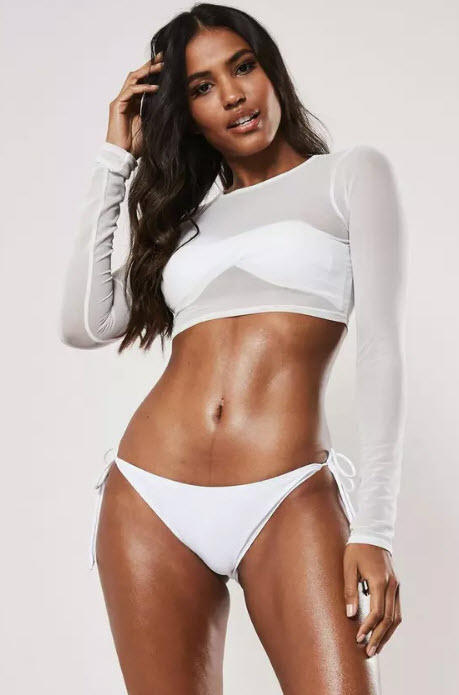 Missguided white mesh long sleeve beach crop top, $25, missguidedus.com