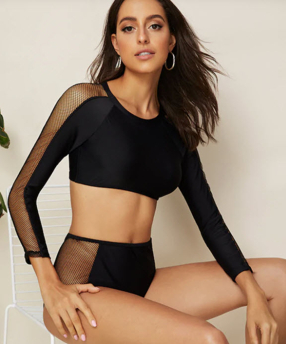Long sleeve fishnet insert high waist two piece swim, $20, ca.shein.com