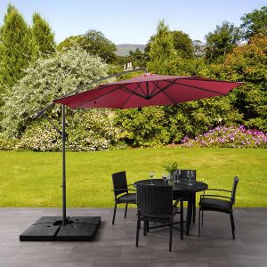 Corliving UV Resistant Offset Wine Red Patio Umbrella, $236, homedepot.ca