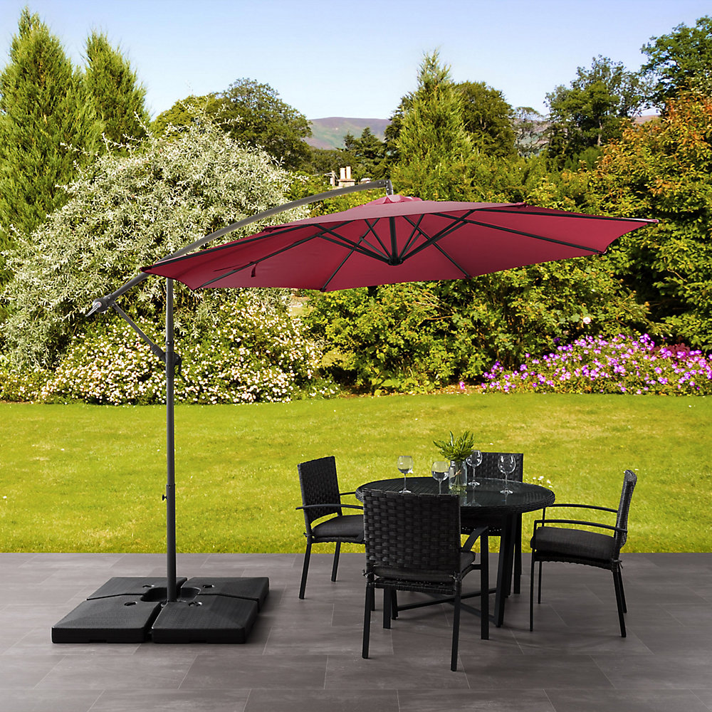 Corliving UV Resistant Offset Wine Red Patio Umbrella, $236, homedepot.ca