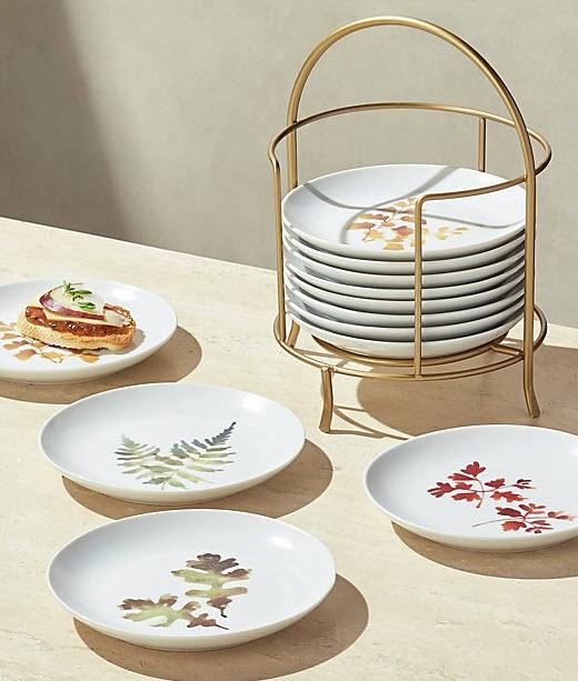 Autumn Plates with Stand, $60, crateandbarrel.com